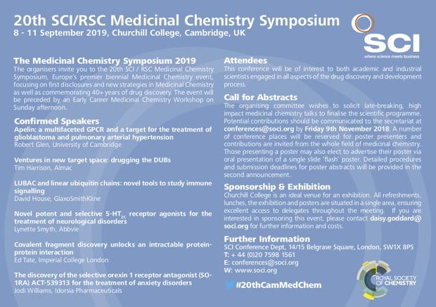 20th SCI/RSC Medicinal Chemistry Symposium   News   Cambridge